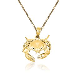 "14kt Yellow Gold Crab Pendant Necklace. 18"", , default"