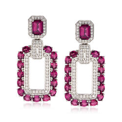 7.50 ct. t.w. Rhodolite Garnet and 1.10 ct. t.w. White Zircon Earrings in Sterling Silver, , default