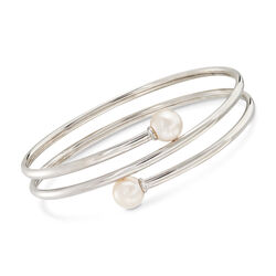 "8-8.5mm Cultured Pearl Bypass Bangle Bracelet in Sterling Silver. 7"", , default"