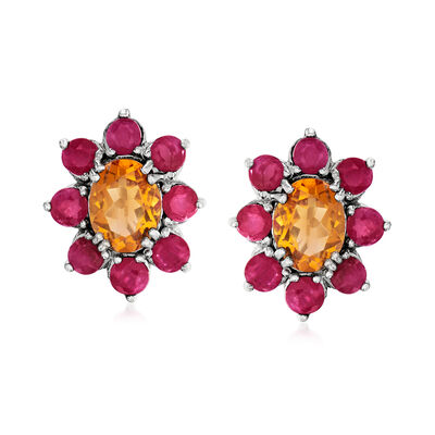 2.60 ct. t.w. Citrine and 2.00 ct. t.w. Ruby Flower Stud Earrings in Sterling Silver