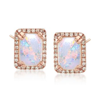 Opal and .15 ct. t.w. Diamond Frame Stud Earrings in 14kt Rose Gold , , default