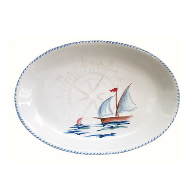 Abbiamo Tutto Italian Sailboat Ceramic Oval Serving Platter, , default