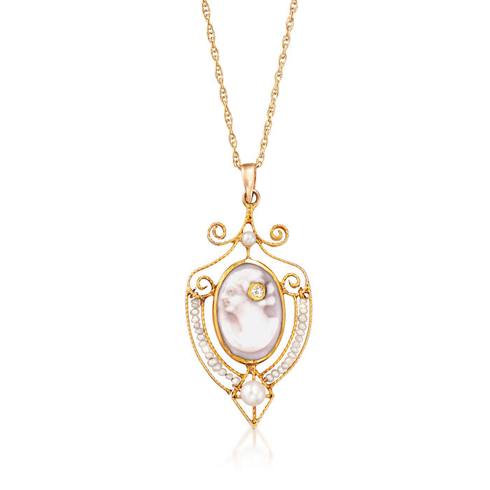 """C. 1940 Vintage Cultured Pearl Shell Cameo Pendant Necklace in 14kt Yellow Gold. 18"""", , default"""
