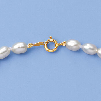 Child's 4-4.5mm Cultured Pearl Necklace with 14kt Yellow Gold. 13""