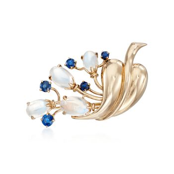 C. 1950 Vintage Moonstone and 1.50 ct. t.w. Sapphire Bouquet Pin in 14kt Yellow Gold, , default