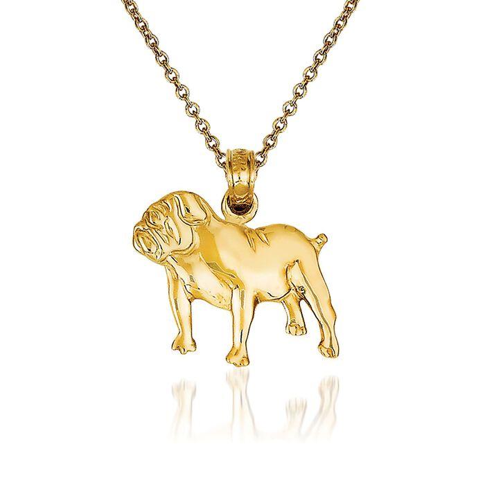 "14kt Yellow Gold Bulldog Pendant Necklace. 18"", , default"