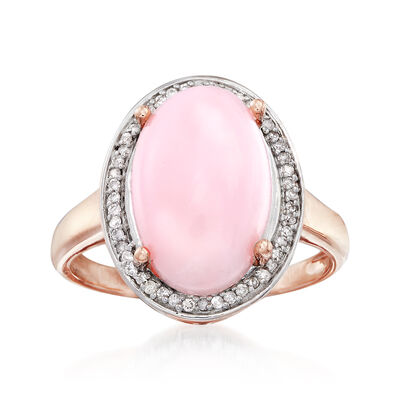 Pink Opal and .14 ct. t.w. Diamond Ring in 14kt Rose Gold, , default