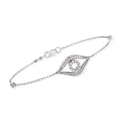 .24 ct. t.w. Diamond Evil Eye Bracelet in Sterling Silver, , default
