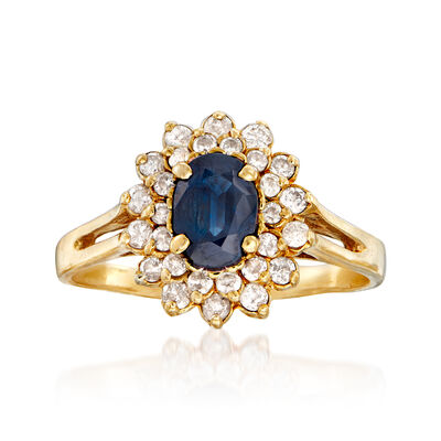 C. 1980 Vintage .95 Carat Sapphire and .55 ct. t.w. Diamond Flower Ring in 14kt Yellow Gold, , default