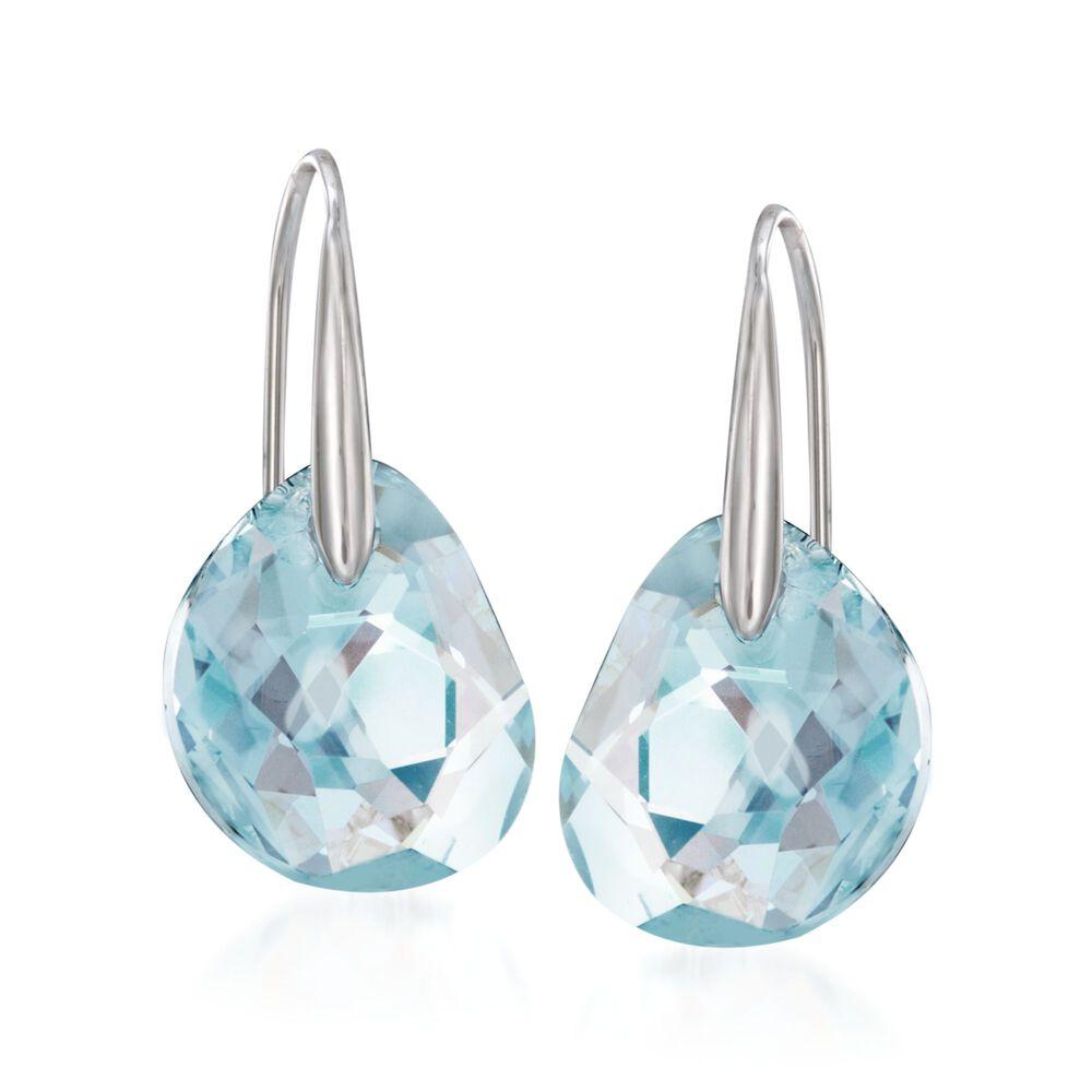 Swarovski Crystal Galet Light Blue Drop Earrings In Silvertone Default