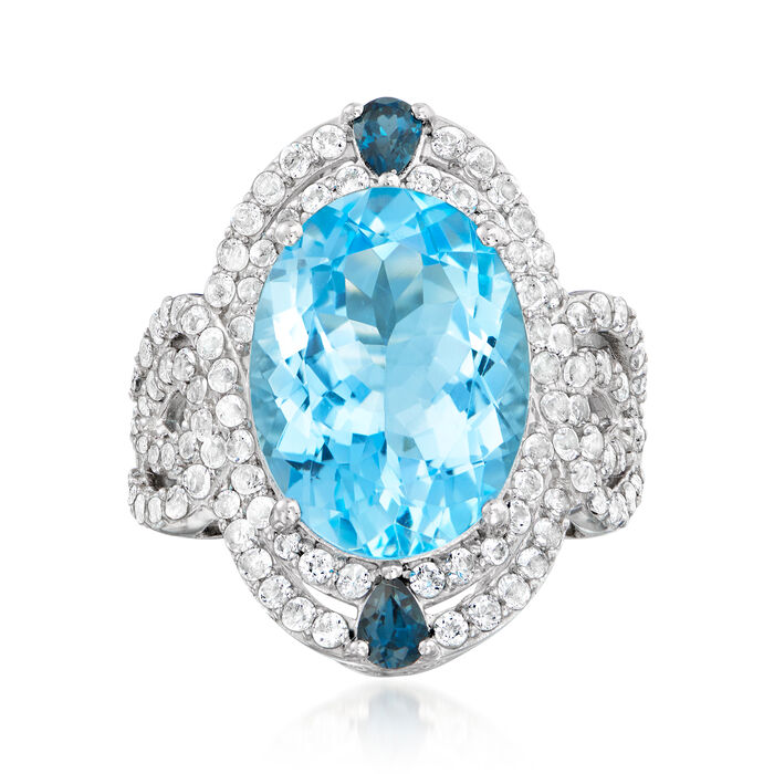 11.90 ct. t.w. Blue and White Topaz Ring in Sterling Silver, , default