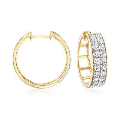 2.00 ct. t.w. Diamond Double-Row Hoop Earrings in 14kt Yellow Gold, , default