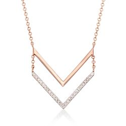 """Diamond Accent Chevron Necklace in 14kt Rose Gold. 16"""", , default"""