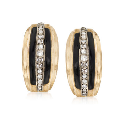 C. 1960 Vintage Onyx Earrings with .50 ct. t.w. Diamonds in 18kt Yellow Gold, , default