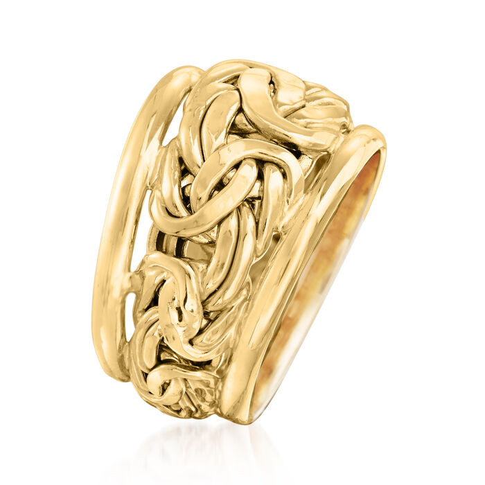 14kt Yellow Gold Byzantine Link Ring