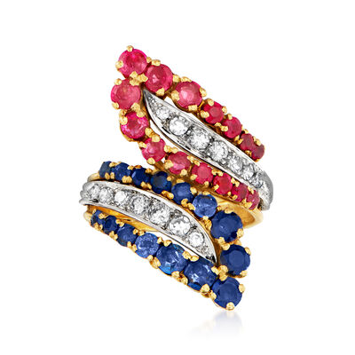 C. 1980 Vintage 1.25 ct. t.w. Ruby, 1.25 ct. t.w. Sapphire and .50 ct. t.w. Diamond Bypass Ring in 18kt Two-Tone Gold
