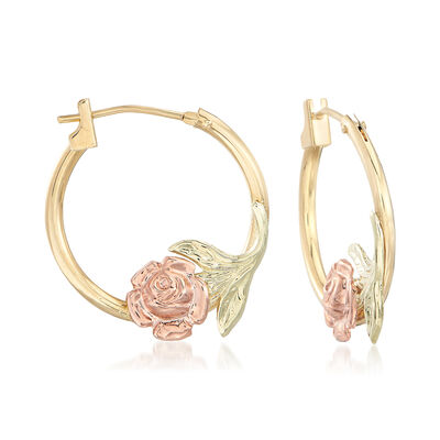 14kt Two-Tone Gold Floral Hoop Earrings, , default