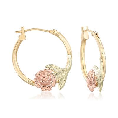 14kt Two-Tone Gold Floral Hoop Earrings, , default