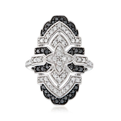 1.10 ct. t.w. Black and White Vintage-Style Ring in Sterling Silver, , default