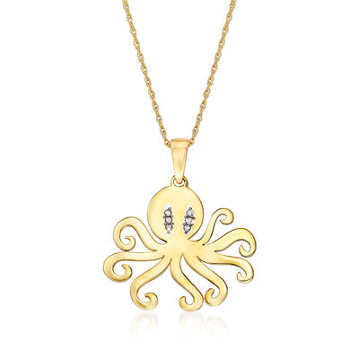 14kt Yellow Gold Octopus Pendant Necklace with Diamond Accents