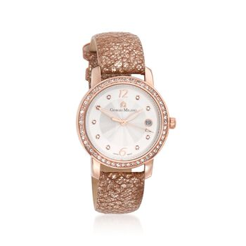 Giorgio Milano Women's 38mm Date Window Crystal Watch in Rose Gold-Plated Stainless Steel With Glitter Leather, , default
