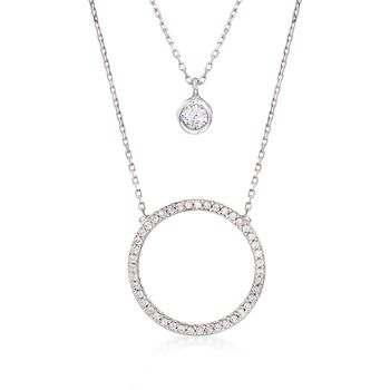""".75 ct. t.w. CZ Layered Circle Necklace in Sterling Silver. 18"""", , default"""