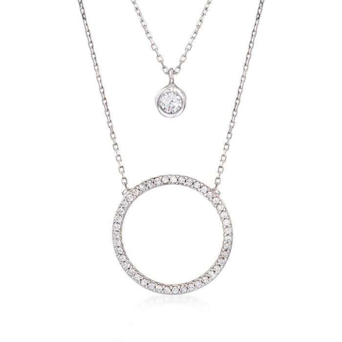".75 ct. t.w. CZ Layered Circle Necklace in Sterling Silver. 18"", , default"