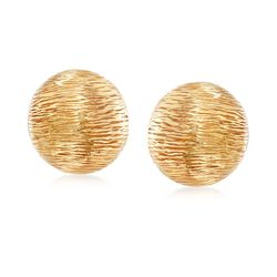 Italian 14kt Yellow Gold Textured Puff Earrings, , default