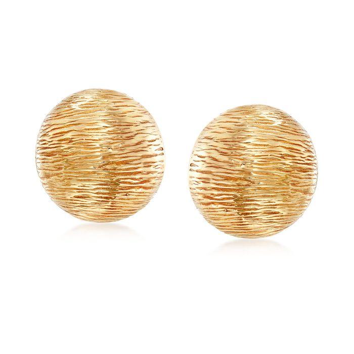 Italian 14kt Yellow Gold Textured Puff Earrings, , default