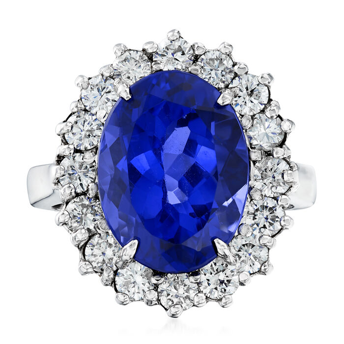 7.00 Carat Tanzanite and 1.20 ct. t.w. Diamond Ring in 14kt White Gold