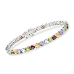 "9.50 ct. t.w. Multi-Stone Tennis Bracelet in Sterling Silver. 7"", , default"