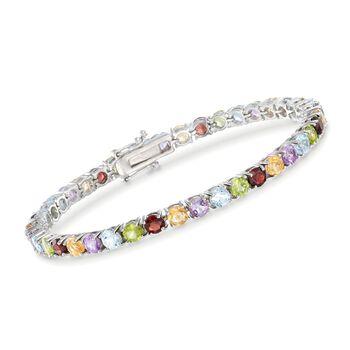"""9.50 ct. t.w. Multi-Stone Tennis Bracelet in Sterling Silver. 7"""", , default"""