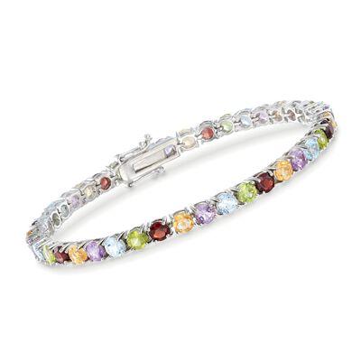 9.50 ct. t.w. Multi-Stone Tennis Bracelet in Sterling Silver, , default