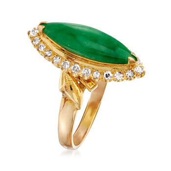 C. 1970 Vintage Jade and .30 ct. t.w. Diamond Ring in 22kt Yellow Gold. Size 6, , default
