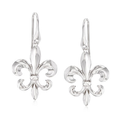 Italian Sterling Silver Fleur-De-Lis Drop Earrings
