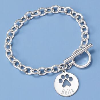Sterling Silver Personalized Paw Print Bracelet, , default
