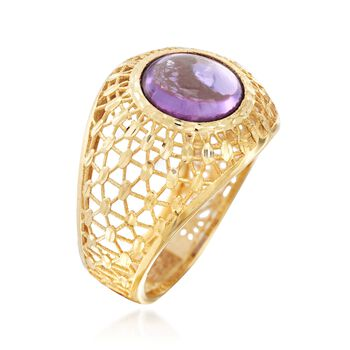 Italian 3.50 Carat Amethyst Dome Ring in 14kt Yellow Gold, , default