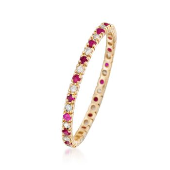 .10 ct. t.w. Ruby and .14 ct. t.w. Diamond Eternity Band Ring in 14kt Yellow Gold , , default