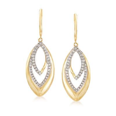 .30 ct. t.w. Diamond Drop Earrings in 14kt Yellow Gold, , default