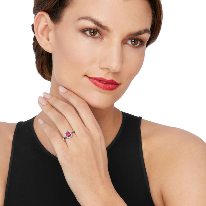 2.20 Carat Simulated Ruby and .20 ct. t.w. CZ Halo Ring in Sterling Silver