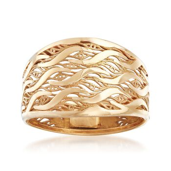 Italian 18kt Yellow Gold Cutout Wave Ring. Size 5, , default