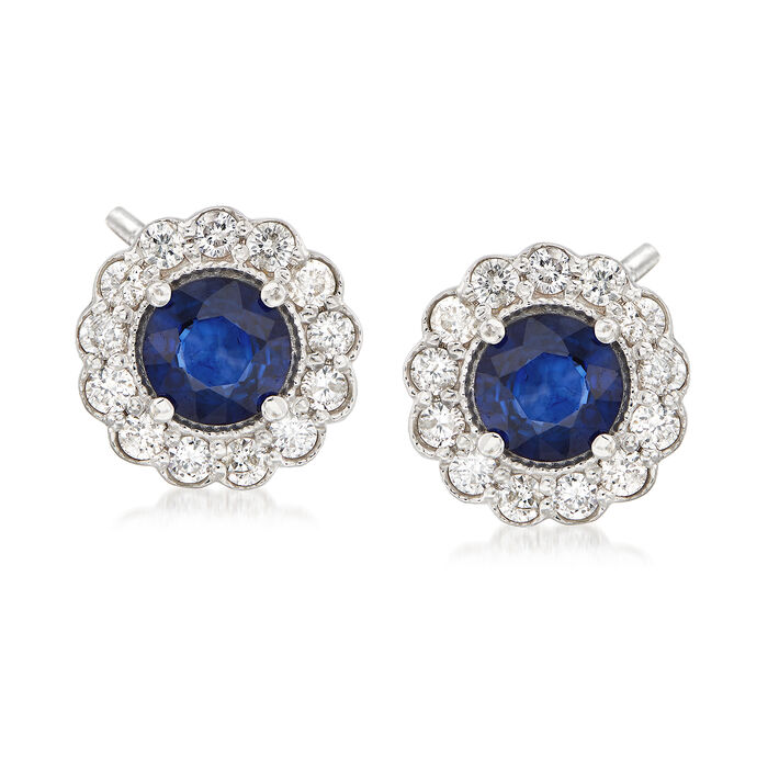 2.00 ct. t.w. Sapphire and .80 ct. t.w. Diamond Halo Earrings in 14kt White Gold, , default