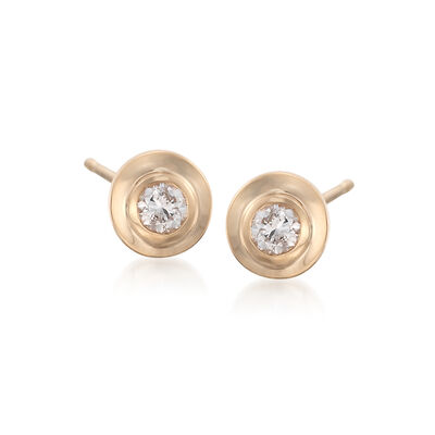 .12 ct. t.w. Double Bezel-Set Diamond Stud Earrings in 14kt Yellow Gold