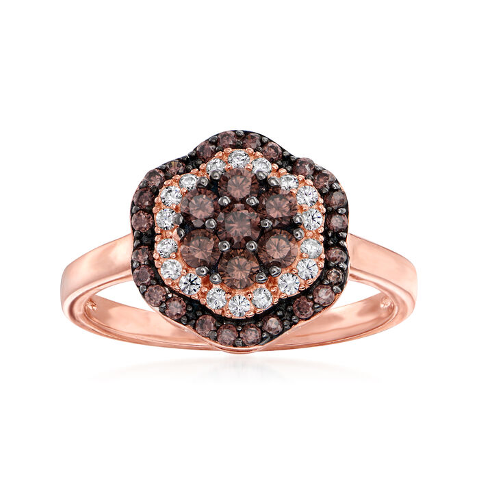 .40 ct. t.w. Brown and White CZ Ring in 18kt Rose Gold Over Sterling