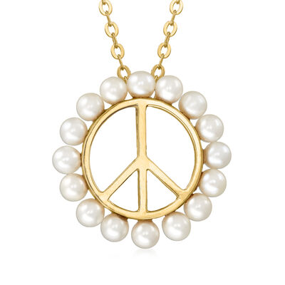 3-3.5mm Cultured Pearl Peace Sign Necklace in 18kt Gold Over Sterling