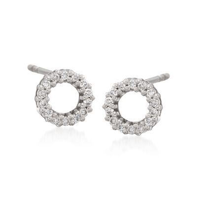 Roberto Coin .13 ct. t.w. Diamond Circle Earrings with Ruby in 18kt White Gold, , default
