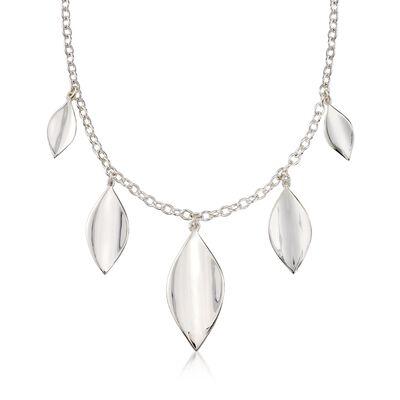 "Zina Sterling Silver Five ""Smooth Leaf"" Drop Necklace, , default"