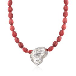 "Sterling Silver Seashell and Red Simulated Coral Bead Necklace. 18.75"", , default"