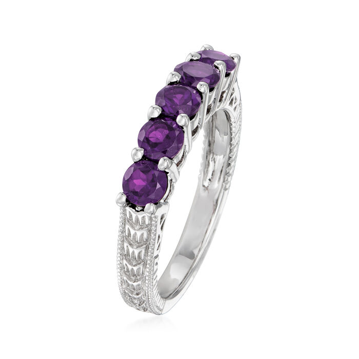 1.20 ct. t.w. Amethyst Five-Stone Ring in Sterling Silver