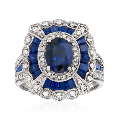 6.20 ct. t.w. Sapphire and .24 ct. t.w. Diamond Ring in 14kt White Gold, , default
